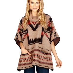 Lucky Brand Aztec Cowl Neck Poncho